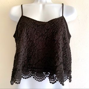 Black Cotton Stretch Lace Crop Camisole Top Lined